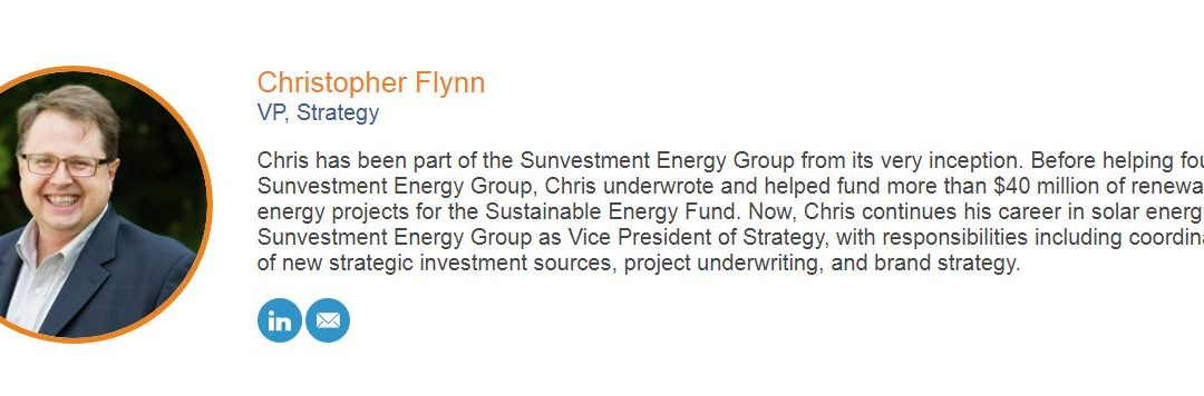 Sunvestment Energy Group's Chris Flynn to Speak at Finding Pennsylvania's Solar Future event.